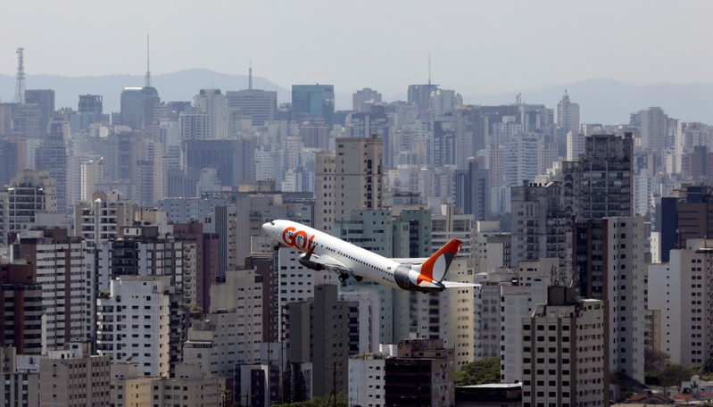FILE PHOTO: An aircraft of Gol Linhas Aereas Inteligentes SA departs from Congonhas airport in Sao Paulo