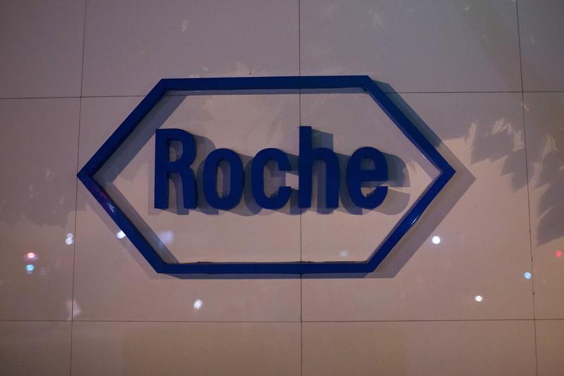 The logo of Swiss pharmaceutical company Roche is seen outside the Shanghai Roche Pharmaceutical Co. Ltd. headquarters in Shanghai