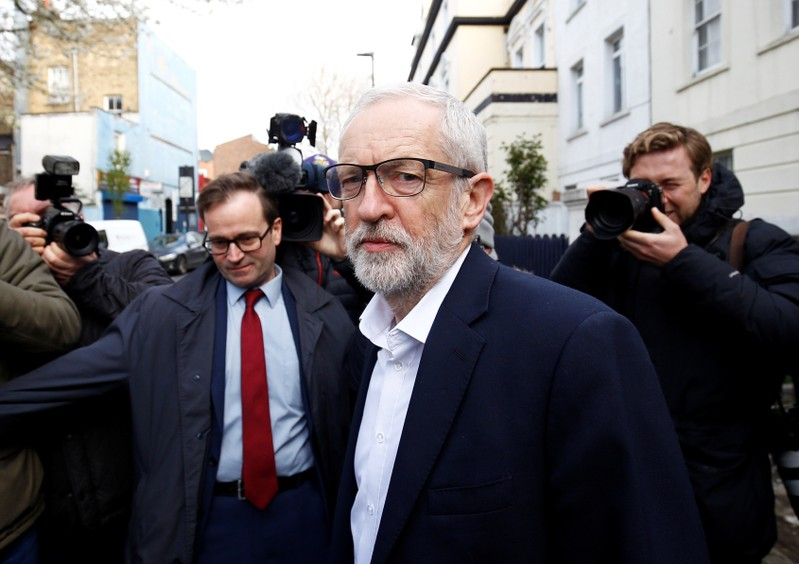 British opposition Labour Party leaderJeremy Corbyn leaves his home in London