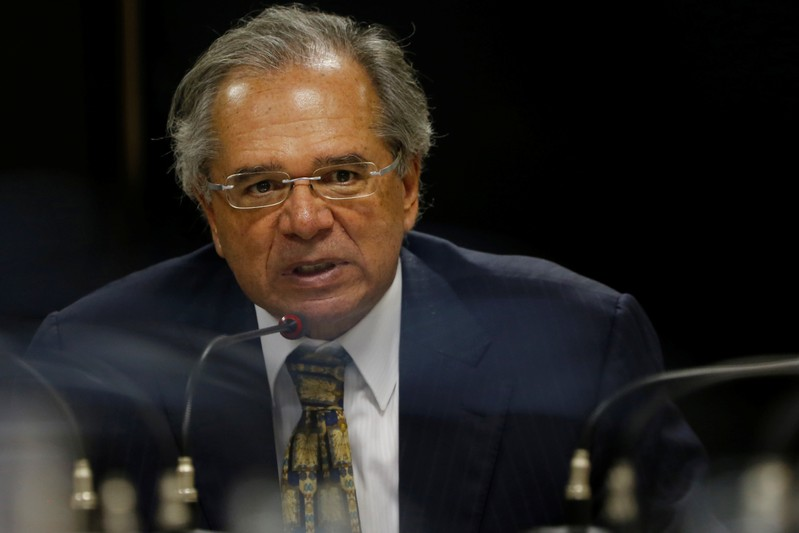 FILE PHOTO: Brazil's Economy Minister Paulo Guedes attends a meeting with Social Liberal Party (PSL) lawmakers in Brasilia