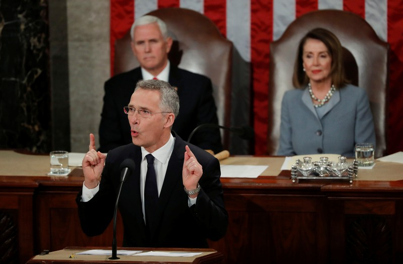 FILE PHOTO - NATO Secretary General Stoltenberg addresses joint meeting of Congress on Capitol Hill in Washington