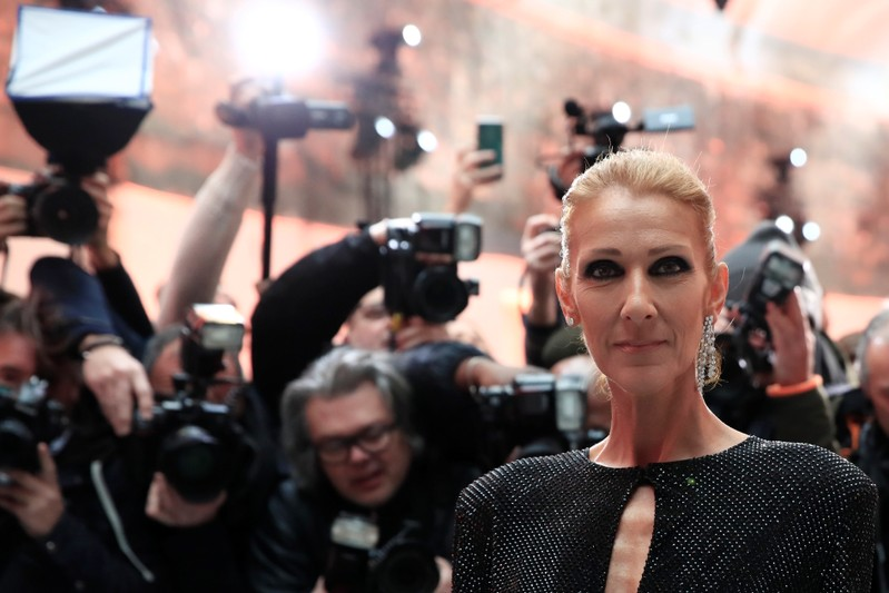 Singer Celine Dion poses before the Haute Couture Spring-Summer 2019 collection show by designer Alexandre Vauthier in Paris