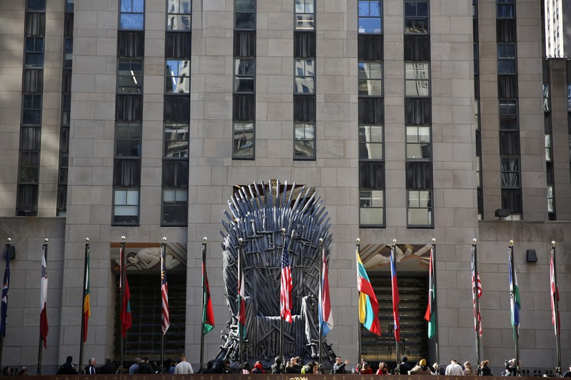 A large replica of the iron throne is seen at Rockefeller Center before the premiere of the final season of