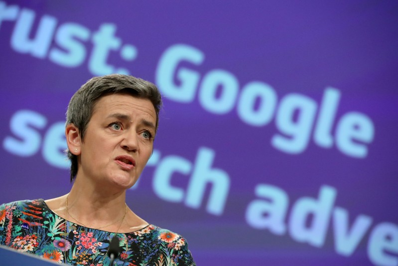 FILE PHOTO: European Competition Commissioner Margrethe Vestager talks to the media at the European Commission headquarters in Brussels on March 20, 2019