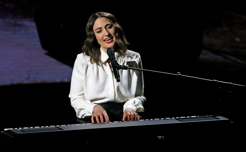 Singer Sara Bareilles sings during an Apple special event at the Steve Jobs Theater in Cupertino