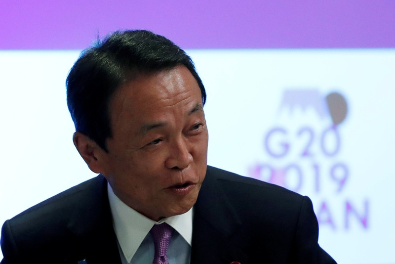 Japan's Finance Minister Taro Aso attends the G20 Finance and Central Bank Deputies Meeting in Tokyo