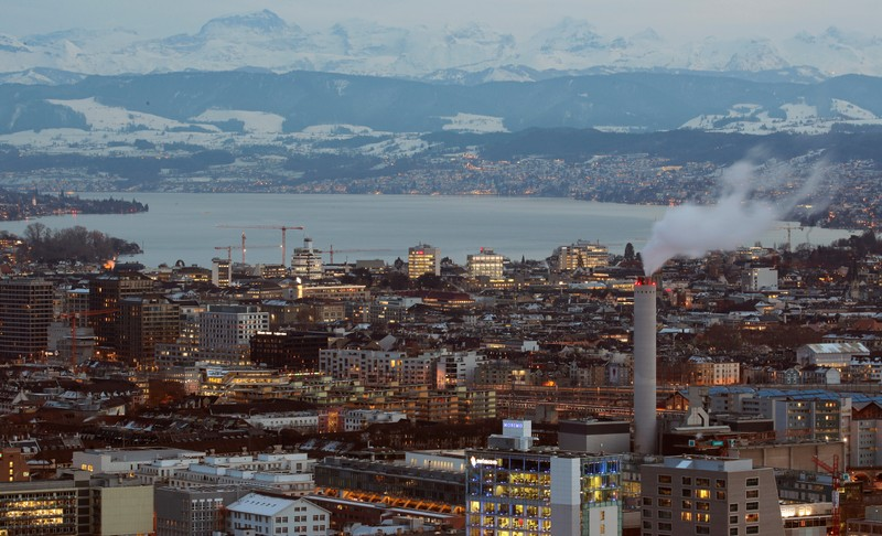 General view shows the eastern Swiss Alps, Lake Zurich and the city of Zurich