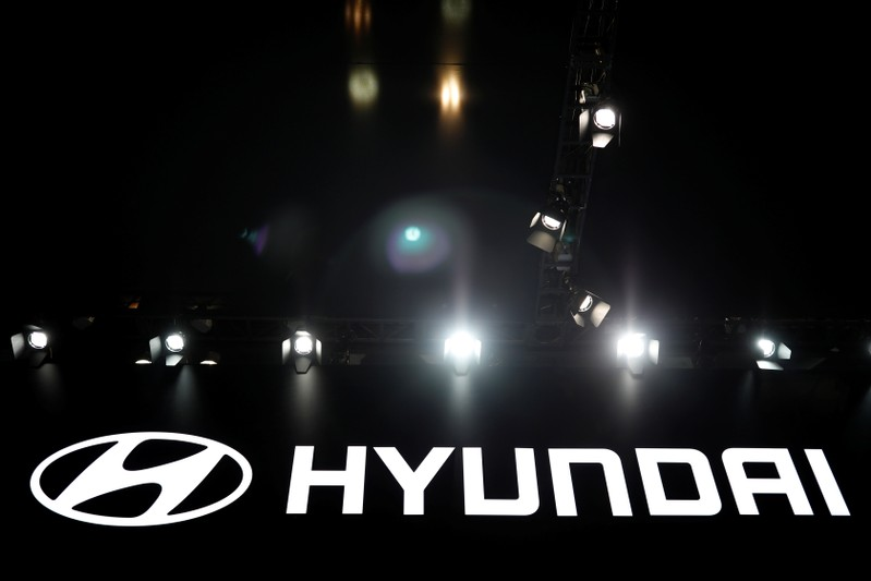 The logo of Hyundai Motor is seen during the 2017 Seoul Motor Show in Goyang