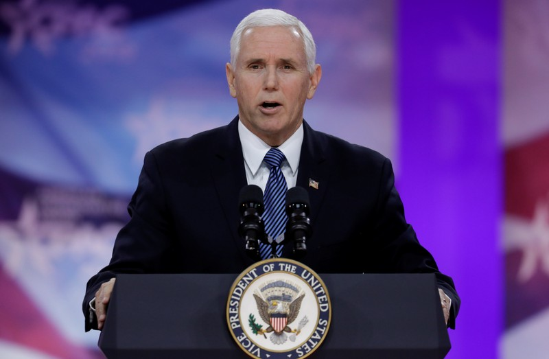 U.S. Vice President Pence speaks at the CPAC annual meeting at National Harbor, Maryland near Washington