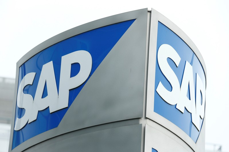 SAP logo at SAP headquarters in Walldorf