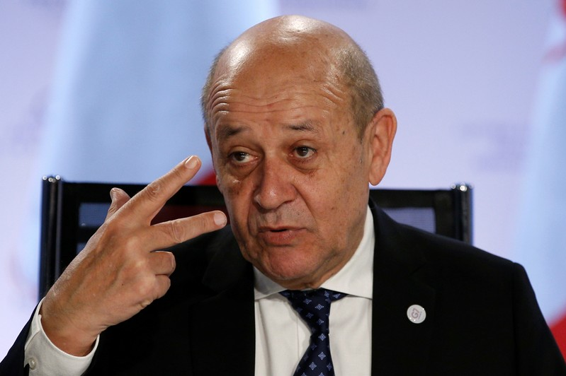 French Foreign Minister Jean-Yves Le Drian attends a working session during the Foreign ministers of G7 nations meeting in Dinard