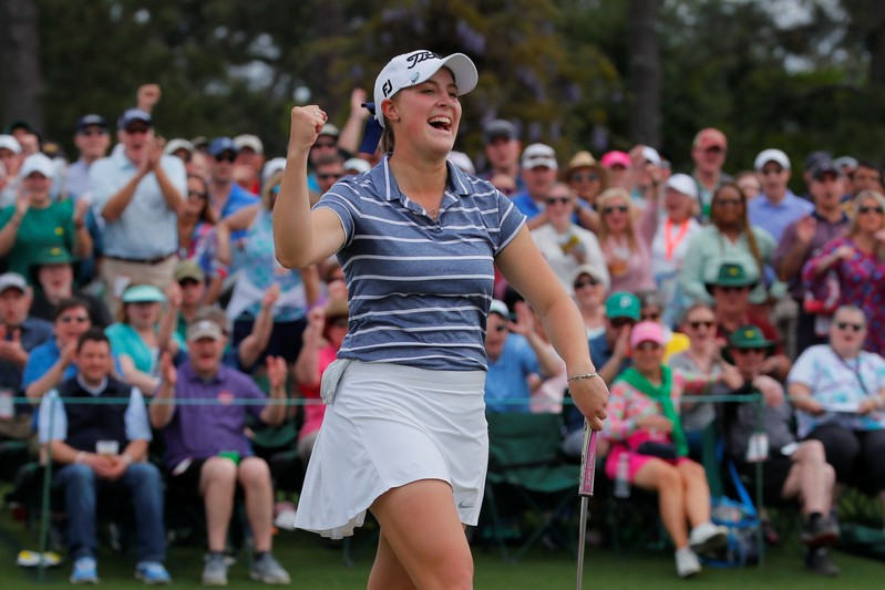 Jennifer Kupcho of the U.S. celebrates a birdie putt on the 18th hole to win the inaugural Augusta National Women's Amateur championship at Augusta National Golf Club in Augusta