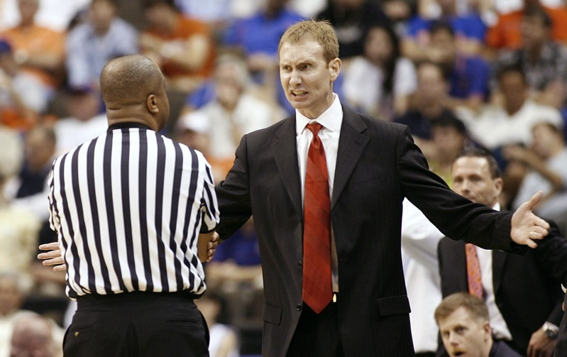 FILE PHOTO: University of South Alabama Jaguars head coach Pelphrey disagrees with official on call in his team's game in Jacksonville