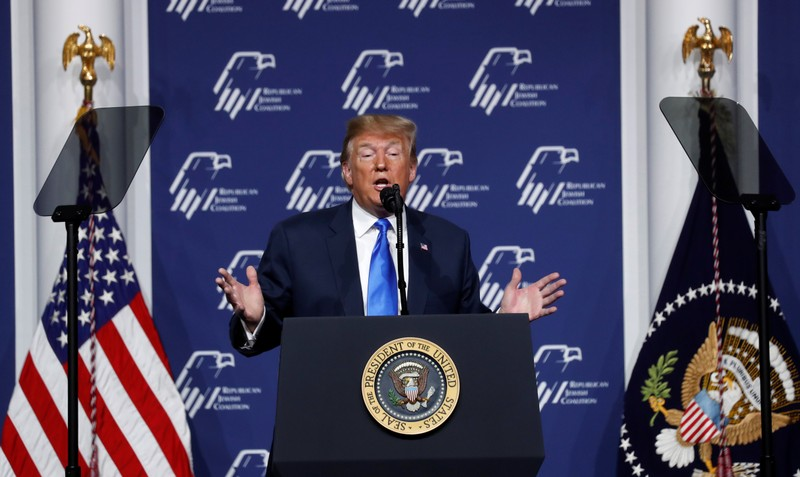 Trump speaks at the Republican Jewish Coalition 2019 Annual Leadership Meeting in  Las Vegas