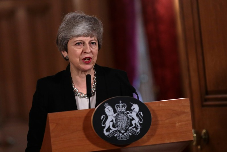 FILE PHOTO: British PM May holds news conference after all-day cabinet meeting in London