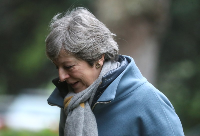 Britain's Prime Minister Theresa May arrives at church near High Wycombe