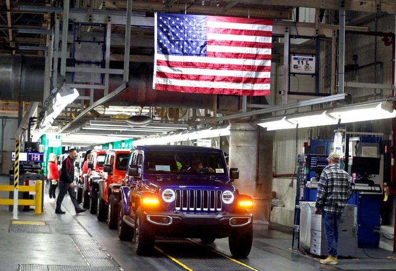 FILE PHOTO: 2019 Jeep Wranglers move to the Final 1 assembly line at the Chrysler Jeep Assembly plant in Toledo, Ohio