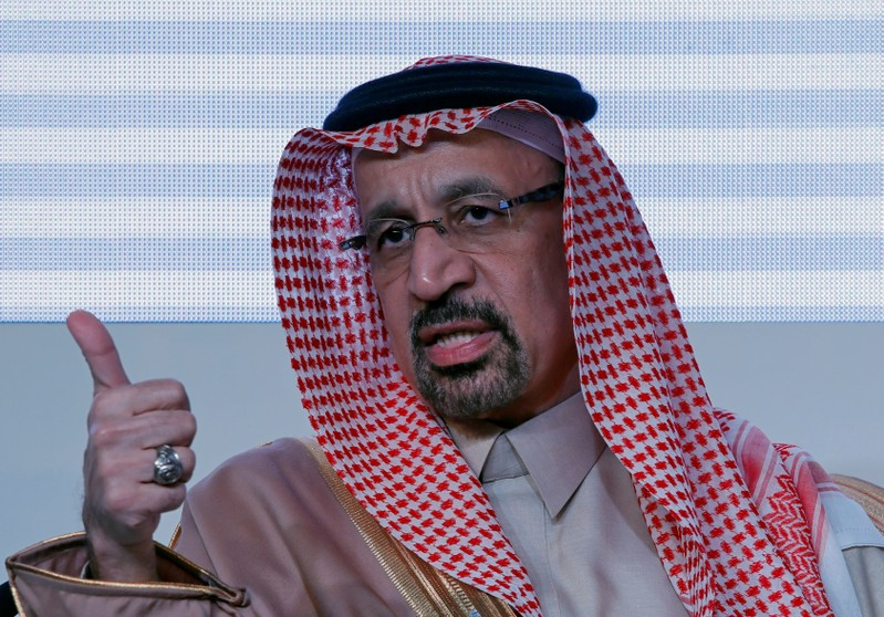 FILE PHOTO: Saudi Arabia's Energy Minister Khalid al-Falih speaks during the Saudi-India Forum in New Delhi