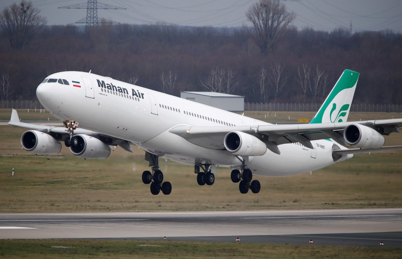 FILE PHOTO: An Airbus A340-300 of Iranian airline Mahan Air takes off from Duesseldorf airport
