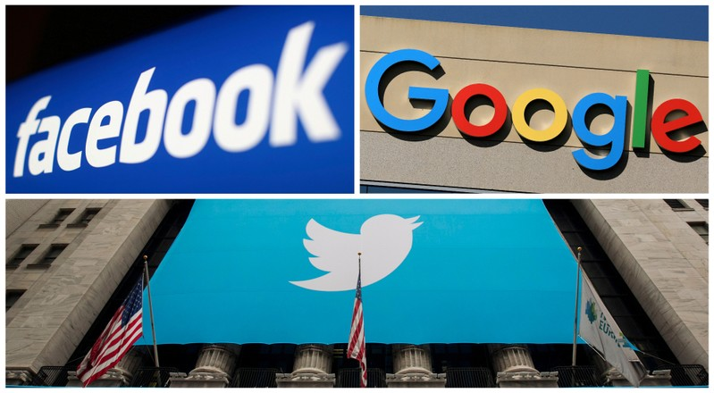 FILE PHOTO: A combination photo of Facebook Google and Twitter logos
