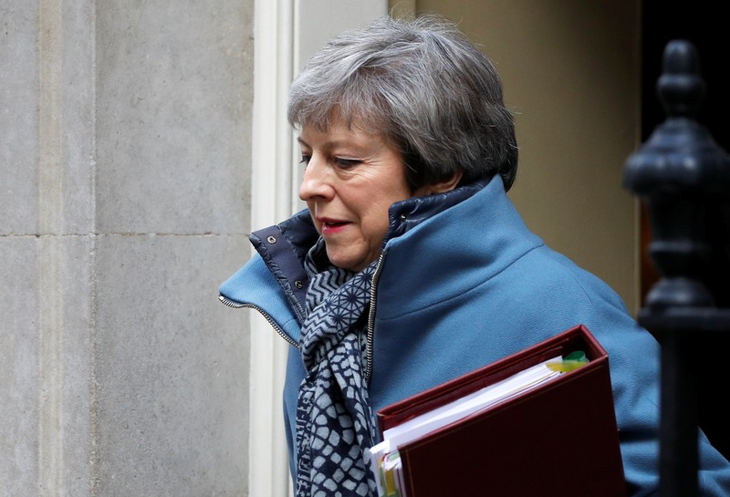 FILE PHOTO - British Prime Minister Theresa May is seen outside Downing Street in London