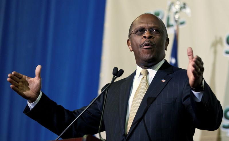 FILE PHOTO: Former republican presidential candidate Cain speaks at the College of Charleston in Charleston