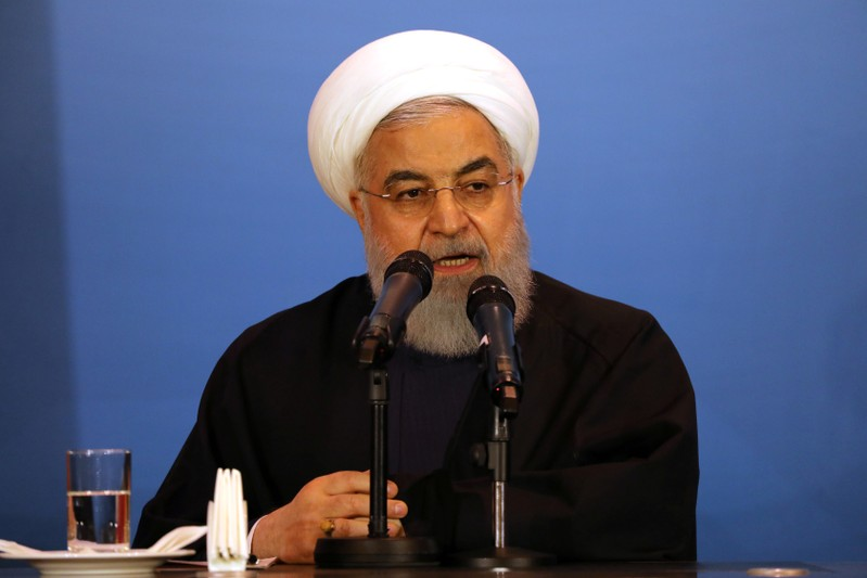 FILE PHOTO: Iranian President Hassan Rouhani speaks during a meeting with tribal leaders in Kerbala