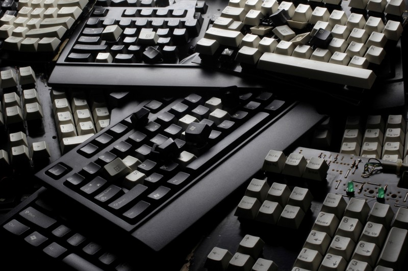 FILE PHOTO: Broken computer keyboards are seen in this illustration picture taken in Warsaw