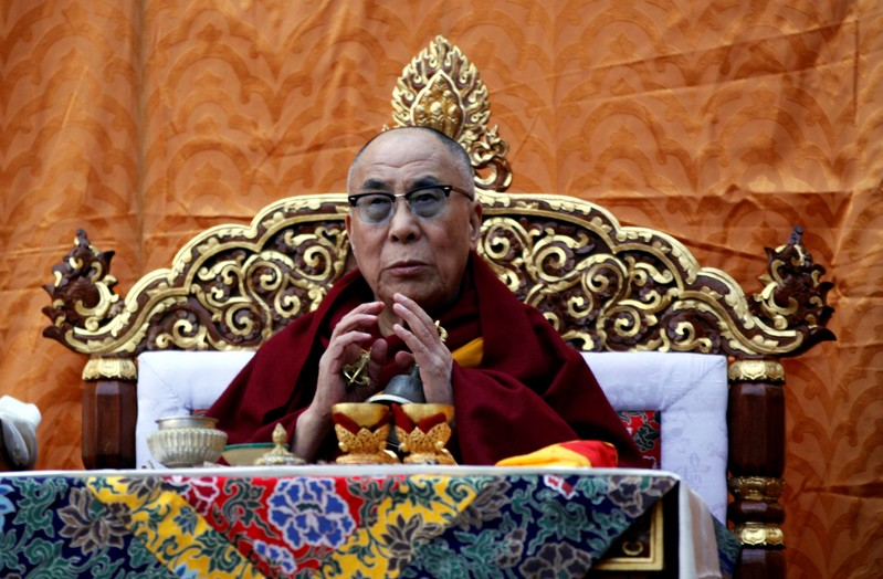 FILE PHOTO: Tibet's exiled spiritual leader the Dalai Lama delivers teachings during the first day of New Year or