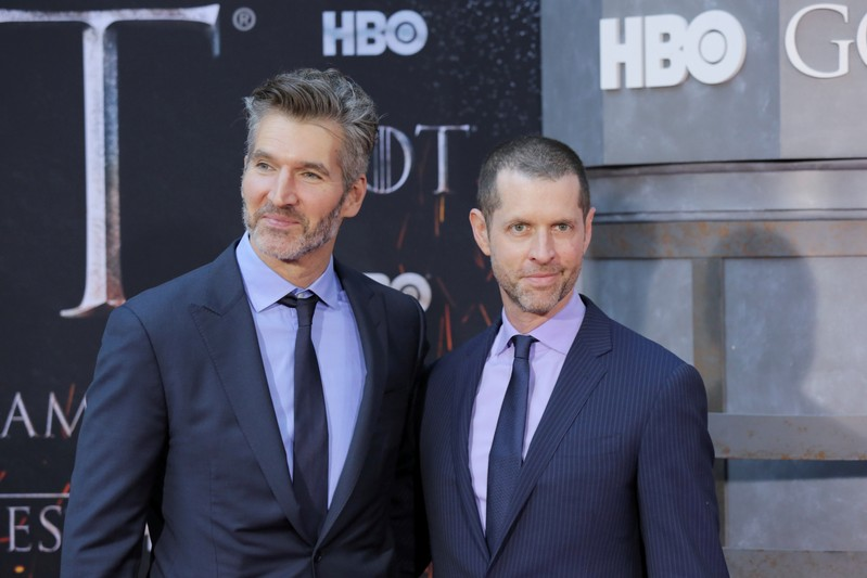 FILE PHOTO: David Benioff and D.B. Weiss arrive for the premiere of the final season of