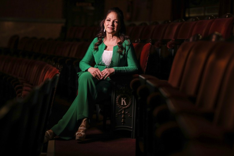 Singer Gloria Estefan poses for a photograph at the London Coliseum theatre where her