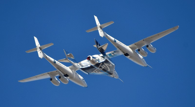 Virgin Galactic rocket plane, the WhiteKnightTwo carrier airplane, with SpaceShipTwo passenger craft takes off from Mojave Air and Space Port