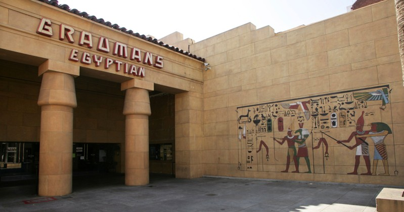 FILE PHOTO: Grauman's Egyptian theatre is seen as preparations continue for the 81st Academy Awards in Hollywood, California