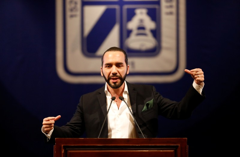 El Salvador's president-elect Nayib Bukele talks during the presentacion of downtown San Salvador Revitalization Project at the National Theater in San Salvador