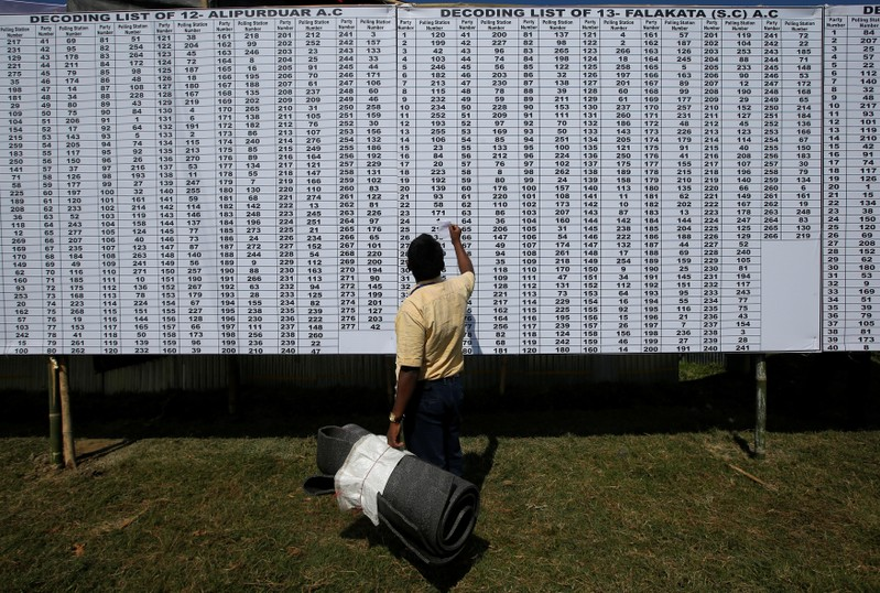 A polling officer checks a polling station list before collecting election material at a distribution centre ahead of first phase of general election in in Alipurduar