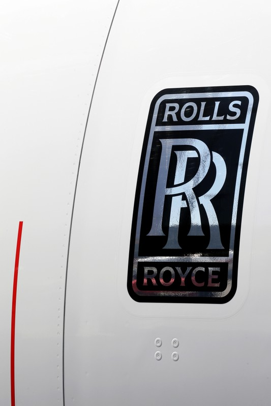 A Rolls-Royce logo is seen on the first A380 for All Nippon Airways (ANA) during its delivery ceremony at the Airbus delivery center in Colomiers