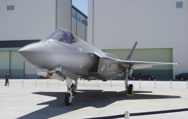 A Japan Air Self-Defense Force's F-35A stealth fighter jet is seen at the Mitsubishi Heavy Industries Komaki Minami factory in Toyoyama, Japan