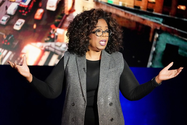 FILE PHOTO: Oprah Winfrey talks on stage during a taping of her TV show in the Manhattan borough of New York City