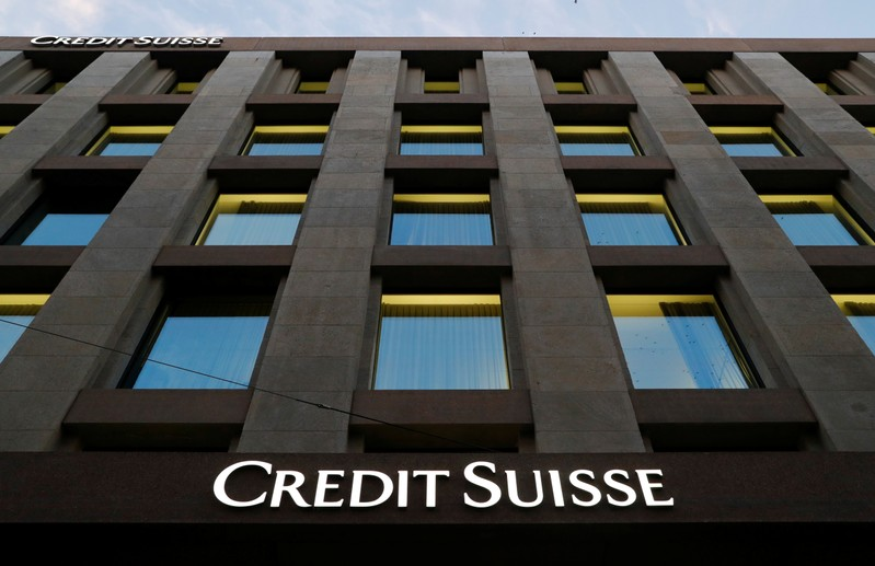 The Credit Suisse logo is pictured on a bank in Geneva