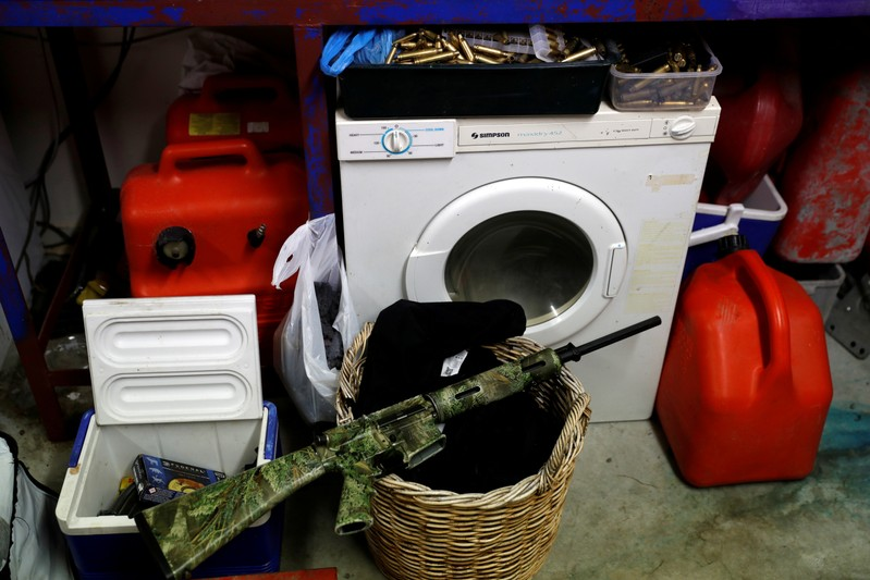 FILE PHOTO: AR-15 semi-automatic rifle in the garage of a home outside Christchurch