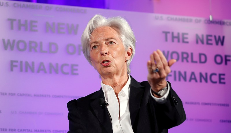 FILE PHOTO: IMF Managing Director Christine Lagarde delivers a speech in Washington
