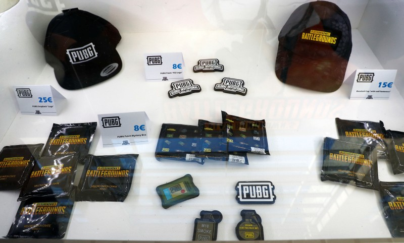 FILE PHOTO: Merchandising products are pictured at the PUBG Global Invitational 2018, the first official esports tournament for the computer game PlayerUnknown's Battlegrounds in Berlin