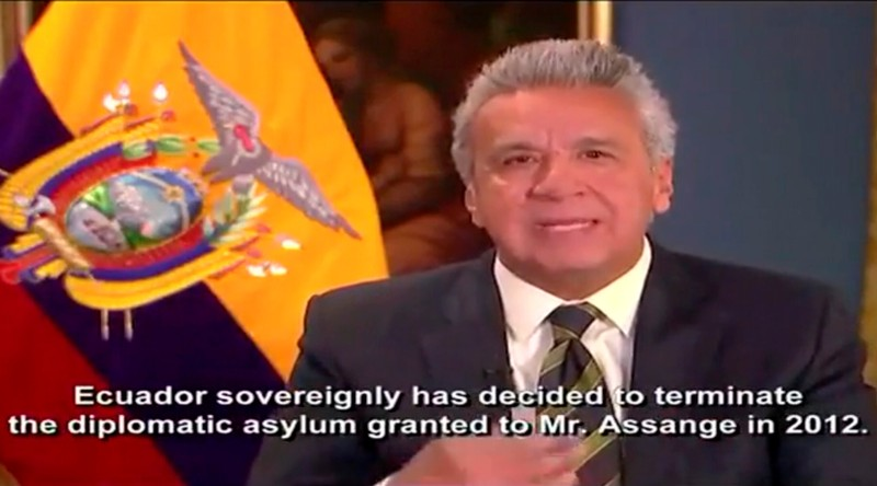 Ecuador's President Lenin Moreno explains in a tweeted video why his country revoked WikiLeaks founder Julian Assange's asylum