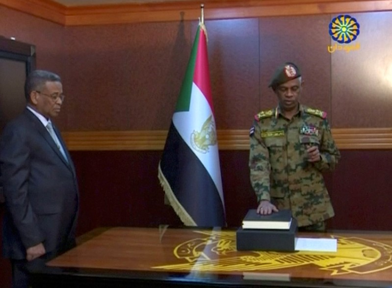Sudan's Defence Minister Awad Mohamed Ahmed Ibn Auf is sworn in as a head of Military Transitional Council in Sudan