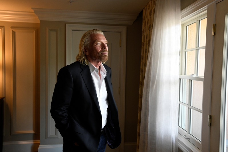 Virgin Galactic founder Richard Branson poses during the Space Symposium in Colorado Springs