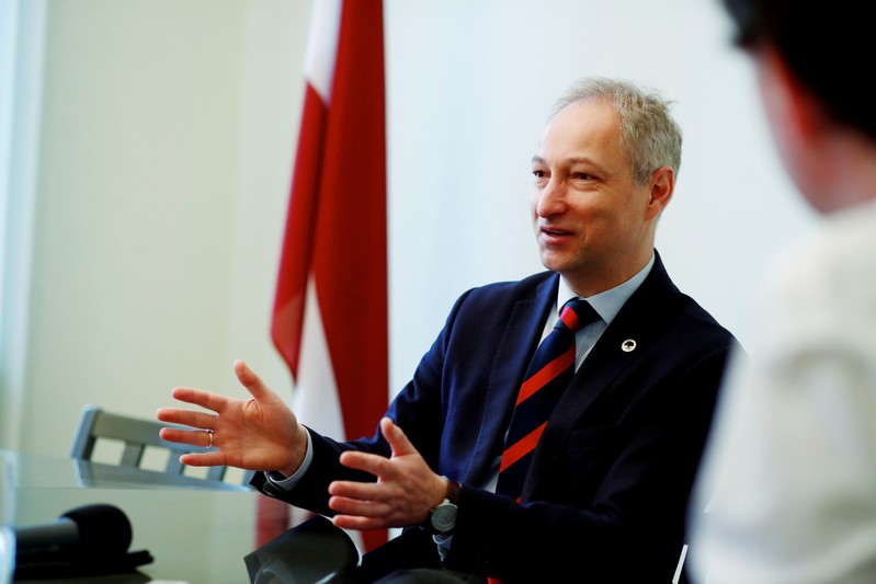 Latvian Minister of Justice Bordans speaks during an interview in Riga