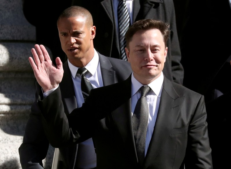 FILE PHOTO: Tesla CEO Elon Musk leaves Manhattan federal court