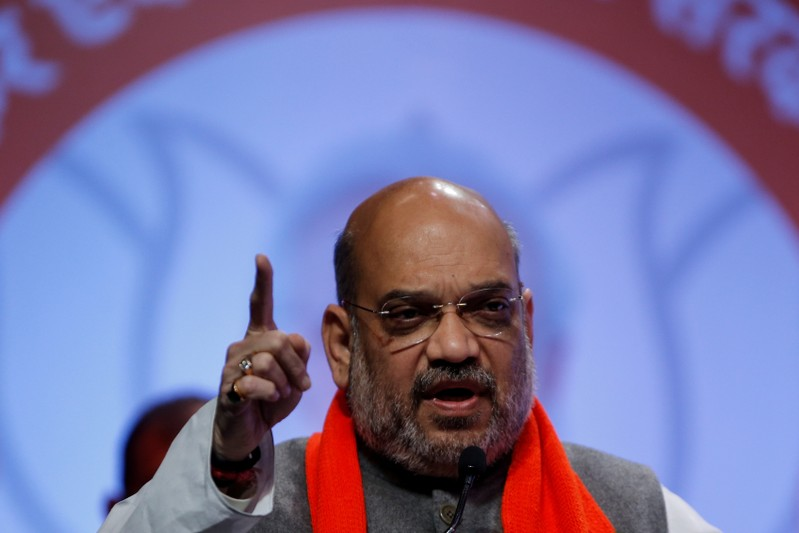 FILE PHOTO: Amit Shah, president of India's ruling Bharatiya Janata Party addresses party workers in Ahmedabad