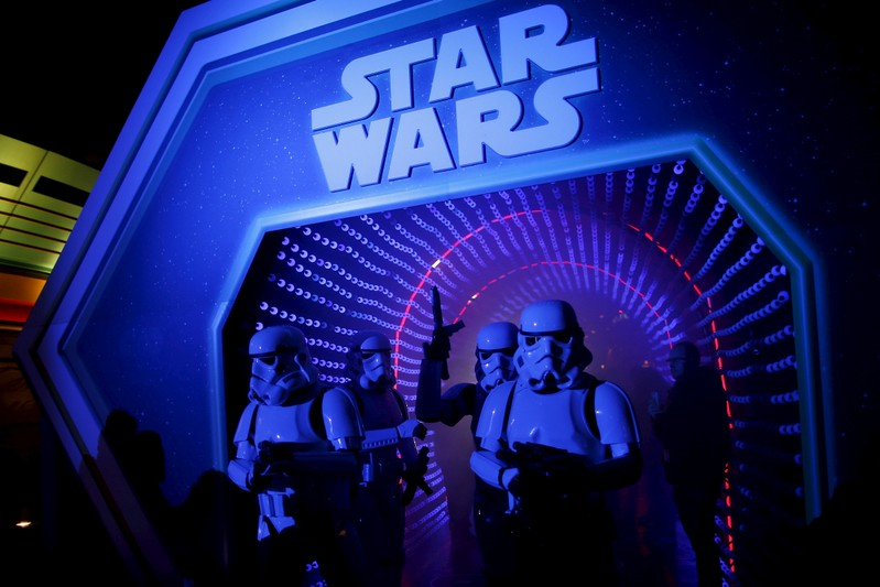 Characters of Star Wars take part in an event held for the release of the film