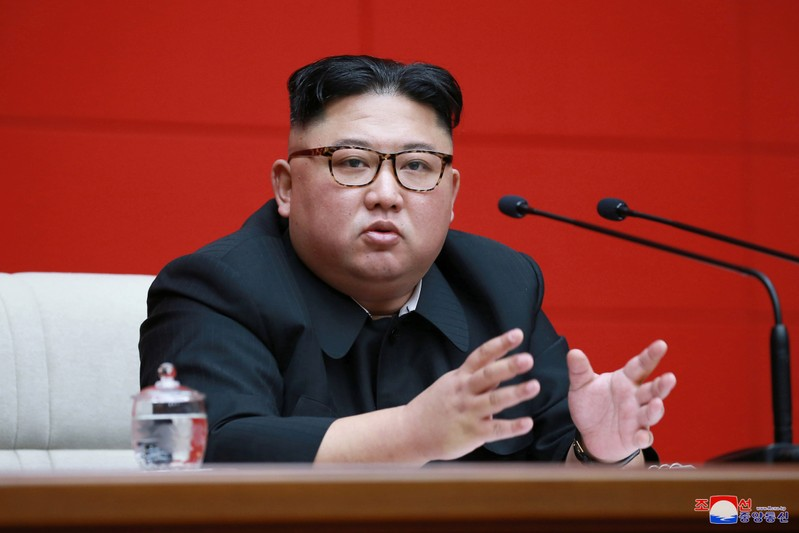 FILE PHOTO - North Korean leader Kim Jong Un takes part in the 4th Plenary Meeting of the 7th Central Committee of the Workers' Party of Korea in Pyongyang